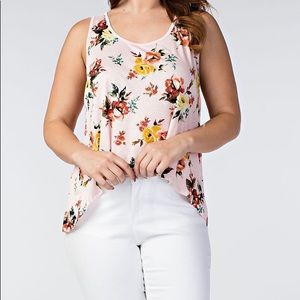 Tops - 🔴 Blush Floral Lace Plus Tank Top